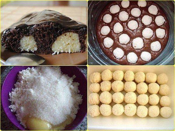 Оригинальный, с нежным вкусом, шоколадный пирог с творожными шариками.