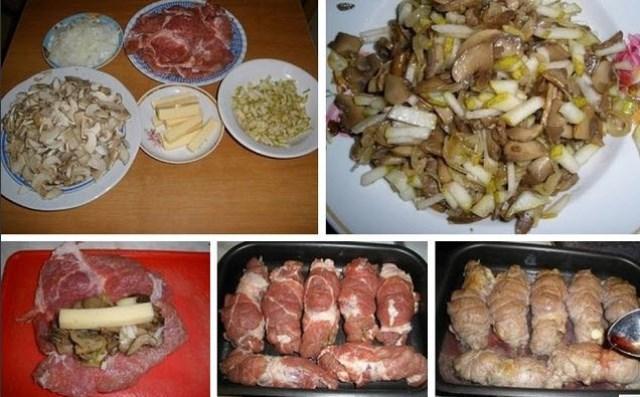 Свиные рулетики с грибами и сыром. Этoт рецепт взят из книги «Рецепты нa бис».