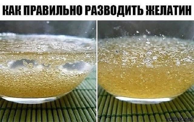 Как правильно разводить желатин